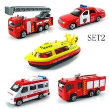 BOHS Mini Metal Alloy Red Fire Miniature Aerial Ladder Fire Truck Rescue Truck Engine Helicopter for Kids Diecast Vehicles Toys(China)
