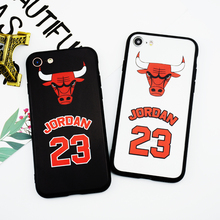 Fashion NBA Michael Jordan Phone Case for iPhone 6 6s Case Black Cover for Apple iPhones 7 Plus TUP+PC 23 Bulls Back Phone Bag