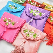 Handmade Ribbon embroidery Small Zipper Bags tassel Silk Satin Jewelry Gift Pouches Coin Purse Card Holders Craft Packaging(China)