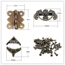 Lucia Crafts Furniture Case Box Corners/Door Hinge 4 Holes Butterfly Bronze Tone/Drawer Door Pull Handle Knob Hardware 048011069(China)