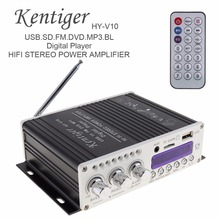 Kentiger HY-V10 20W x 2 2CH HI-FI Bluetooth Car Audio Power Amplifier FM Radio Player Support SD / USB / DVD / MP3 Input