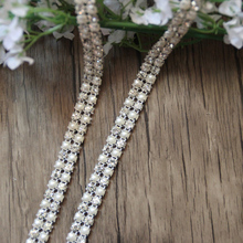 Free Shipping 10 yards 2rows Crystal Rhinestone&Pearl Mesh Trim Bridal Sash Wedding Applique Rhinestone Banding LSRT12191-1