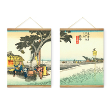 2 Pieces Japanese Style Countryside Landscape Decoration Wall Art Pictures Hanging Canvas Wooden Scroll Paintings Ready To Hang