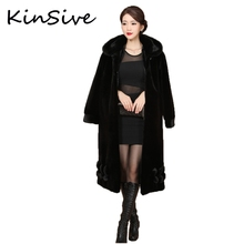 New Fashion Style Natural Mink Fur Coats with Hood Women Winter Warm Long Outwear Real Fur Jackets Genuine Mink Coat Plus Size(China)
