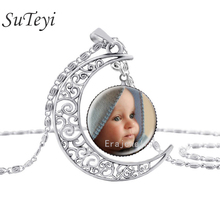 SUTEYI Newest Personalized Photo Pendants Custom silver moon Necklace Photo of Your Baby Child lovely Loved One Gift(China)