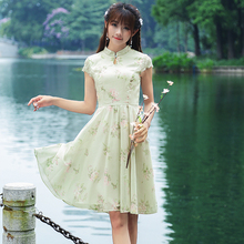 2017 New Spring Summer Vintage Women dress Print Short Sleeve Lace Love Poem Literary Waist Dresses Pea Green 8078(China)