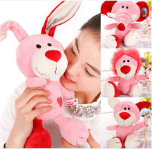 Hot 1pc 25cm-50cm Nici Plush Toy Stuffed Doll Pink Concept Poker Bear Lion Rabbit Elephant Lover Couples Christmas Birthday Gift(China)