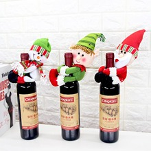 Christmas Decorations for Home party Santa Claus Red Wine Bottle Cover Bag Xmas home decor red wine bottle hug toy cover gift(China)