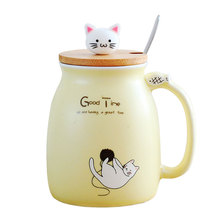 New Cartoon Coloured Glaze Lovely Kitty Ceramics Cup With Cover Spoon Cute Japanese Mugs Enamel Breakfast Milk Office Coffee Tea(China)
