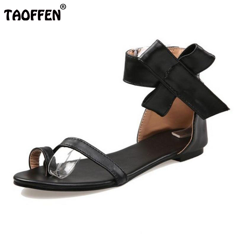 Size 30-48 Fashion Big Flowers Black Toe-Covering Bow Women Flat Sandals Shoes Summer Bandage Flip Sandals Female PA00675<br><br>Aliexpress