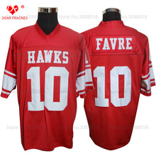 Cheap Shirt for Mens American Football Jerseys Brett Favre 10 Hancock Hawks High School Throwback Jerseys Retro Red Stitched(China)