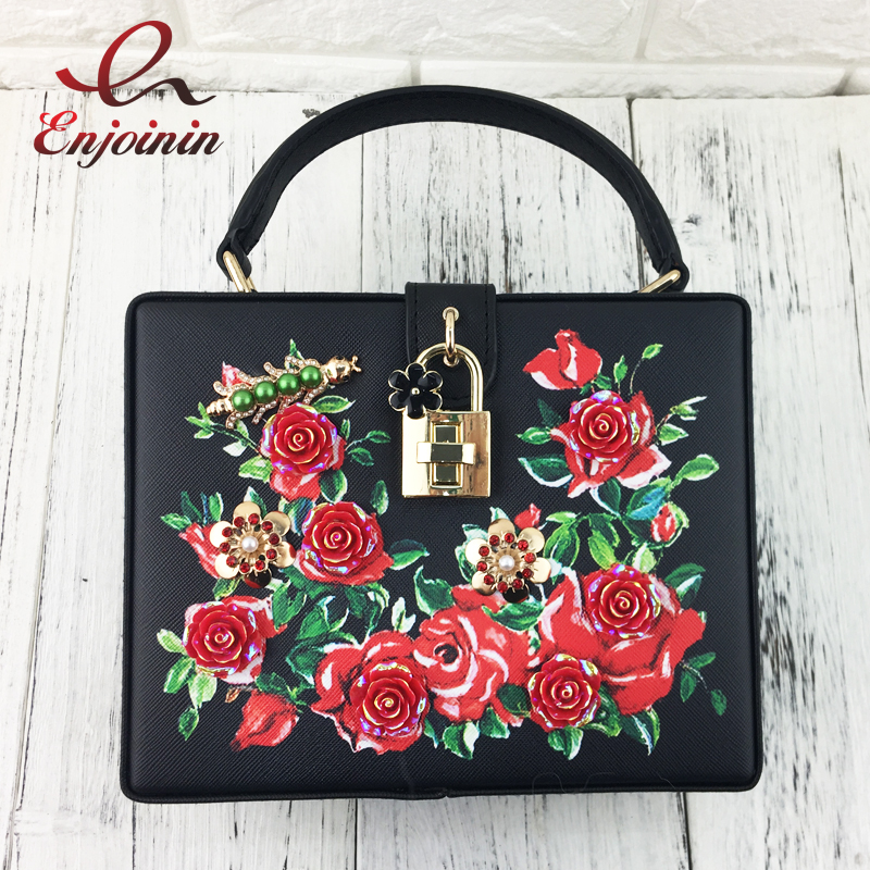 Fashion flower print insect pattern beaded  box shape womens party totes shoulder bag handbag ladies crossbody messenger bag<br>