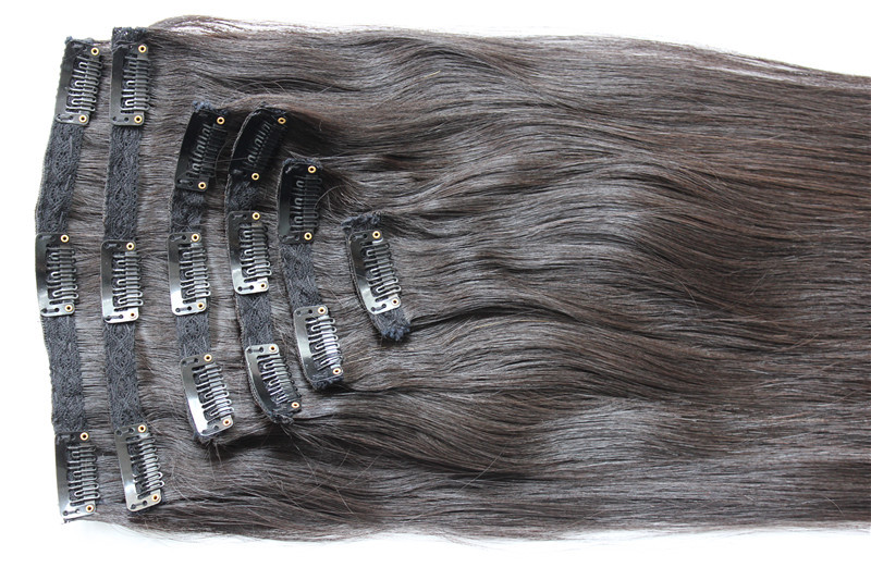 Free Shipping remy clip in hair extensions Brazilian virgin straight hair color 1b huaman hair clip on full head 8pcs/set<br><br>Aliexpress