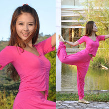 Yoga Clothes Suit Mercerized Cotton Belly Dance Practice Short-sleeved Set More Colors Available Women Fashion(China)
