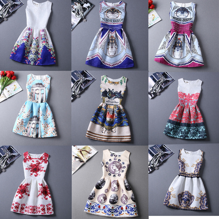 21 Colors Women Summer Style Dress Vintage Sexy Women'S Party Dress Vestidos Plus Size Printing Women'S Clothing Short Dresses(China)