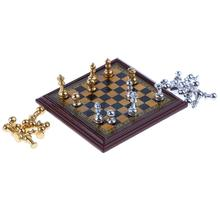 1:12 Dollhouse Miniature Metal Chess Set - 32 Pieces Chess & Board - Dolls House Decor Accessories(China)