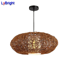 Creative Hand Knitted Rattan Pendant Light AC 90-260V For Modern Restaurant Chandelier Corridor Living Room Bedroom Study Cafe