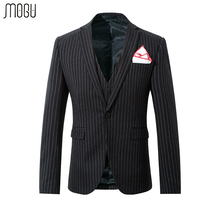 MOGU Three Piece Stripe Men Suit Slim Fit Suit Men 2017 Autumn New Arrival Fashion Wedding Suits For Men Asian Size Men's Suit(China)