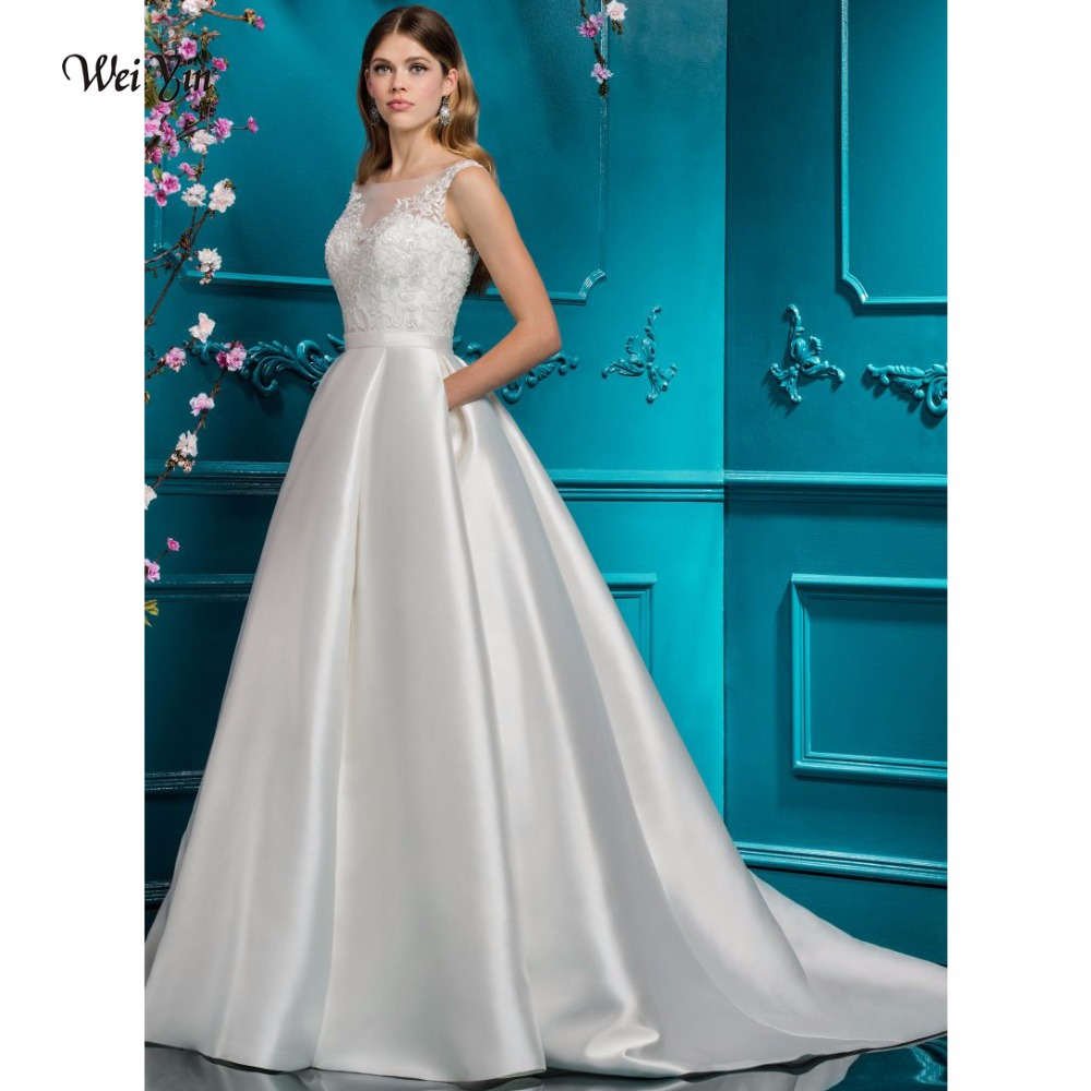 weiyin A-Line Wedding Dress Princess Jewel Neck Court Train Lace Over Tulle Custom Wedding Dresses with Appliques Button