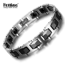 Hottime Men's Fashion Healthy Bangles Bio Elements Energy Germanium Bracelet Black Negative ION Ceramic Tungsten Jewelry 10027(China)