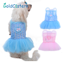Fashion Summer Pet Dog Clothes Puppy Roses Love Princess Skirt Dog Party Camisole Gauze Dresses 2 color 4 Size 1pcs .(China)