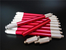30pcs Red Color 2 Head Pen Cosmetic Eyebrow Microblading Tattoo Pen Permanent Makeup Pen Machine 3D Manual Pen(China)