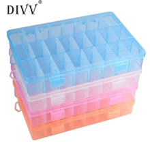 Adjustable 24 Compartment Plastic Storage Box Women Jewelry Earring Case