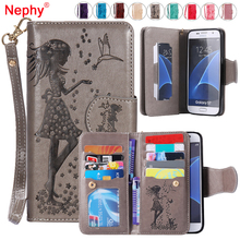 Nephy Wallet Phone Case For Samsung Galaxy S3 S4 S5 S6 S7 Edge S8 Plus A3 A5 J3 J5 J7 2016 2017 Cover Flip Leather Capa Coque(China)