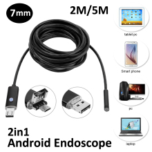 New Arrival 7mm 2in1 Android USB Endoscope Camera 2M 5M OTG Micro USB Snake Tube Inspection Borescope IP68 Waterproof 6PC LED