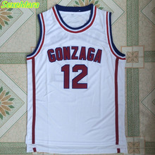 SexeMara 2017 Gonzaga University Basketball Jerseys,#12 John Stockton College Jersey Cheap Throwback White Basketball Jersey(China)
