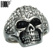 HIP Hop Rock Micro Pave Rhinestone Skull Rings Iced Out Bling Titanium Stainless Steel Skeleton Rings for Men Jewelry