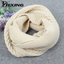 2017 Winter Cable Ring Scarf Women Knitting Infinity Scarves Knitted Warm Neck Circle Scarf bufandas cuellos LICs For Women(China)