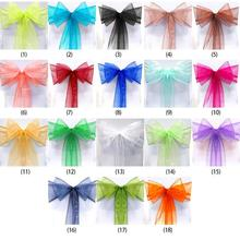 Chair Cover Organza Sashes Bow Wedding Party Tie Ribbon Chair Back Decoration