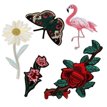 Hoomall 5PCs Rose Flower Flamingo Patches Iron On Crafts Badge Embroidered For T-Shirt Bags Clothes Sewing Accessories(China)