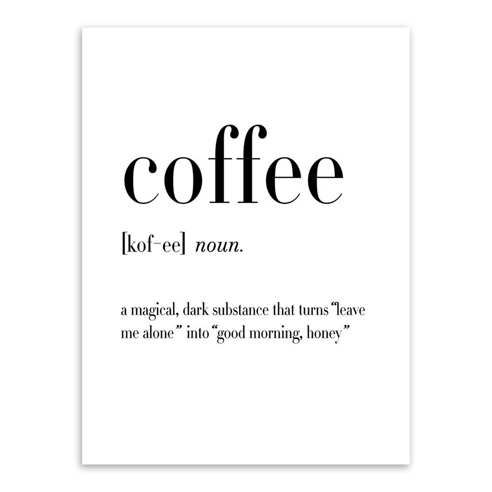 mini st black and white beer coffee wine quotes posters print