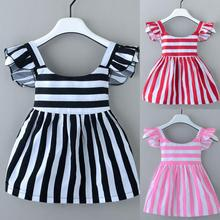 New Fashion Striped Baby Girl Dress Toddler Baby Girl Stripe Dress Summer Casual Girl Dress moana vestidos for 0-24M free size S(China)