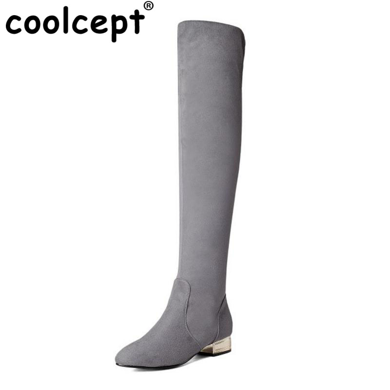 Coolcept Size 32-43 Warm Winter Elastic Boots For Women Med Heel Knee High Boots Female Warm Plush Inside Slip On Winter Botas<br>