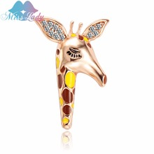 Miss Lady Enamel Lizard Animal Yellow giraffe Brooches for Women Girls Corsages vintage Brooch lable pins jewelry fashion