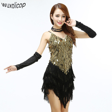 Shining V Neck Stage Clothing Costume Latin Dance Dresses Women's Art Deco 1920s Gatsby Tassel Fringe Flapper Backless Dress(China)