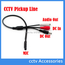 10PCS/lot Mini CCTV MIC Microphone Voice Audio for Security Camera Audio Surveillance DVR, CCTV Mic Audio Cable Receiver