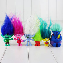 6pcs/lot Dreamworks Movie Trolls Cartoon Figure Toy Poppy Branch Buy Diamond Biggie With Long Hair Mini Model Dolls for Children(China)