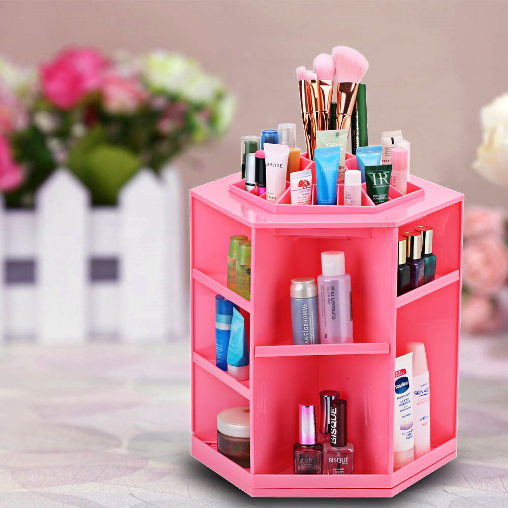 Fooktu Red Storage Box DIY Bins Makeup Case Plastic Cosmetic 360 Degree Rotating Jewelry Organizer Folding Storage Stand Holder(China (Mainland))