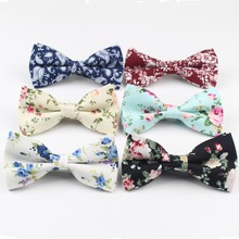 Mens Bow Tie Flexible Bowtie Smooth Necktie Soft Cotton Butterfly Decorative Pattern Paisley Flower Ties(China)