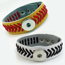 Baseball leather snap button bracelet for snap jewelry NY8769 (fit 18mm 20mm snaps)