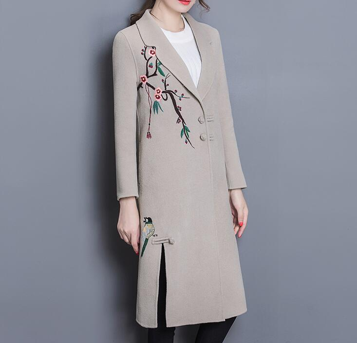 2016 Fashion Autumn Winter Vintage Long Sleeve Embroidery Double Woolen Coat JacketОдежда и ак�е��уары<br><br><br>Aliexpress