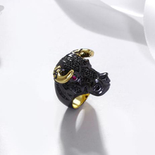New Animal big Ring Black Punk design 2 tone color Zodiac Animals Cow Design OX Rings unusual jewelry for women