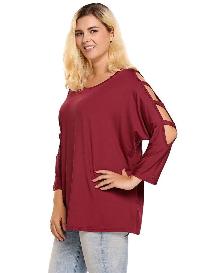 Women's T-Shirt, Summer Round Neck, Cut-out, Batwing, 3/4 Sleeve Ladies T-shirt 14