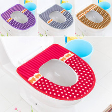 Thicken Plush Washable Bathroom Toilet Seat Cover Mat Lid Closestool Cloth Warmer Toilet Washable Cloth Seat Cover Pads