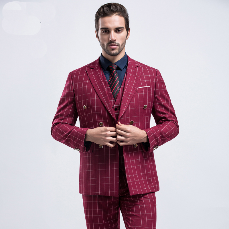 High Quality Plaid Groom Wedding Suits Men British style Red (Jacket+Pant+Vest) 3 pieces Tuxedos Slim Fit Formal Dress Suit Mens(China)