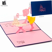 3D pop up cards Birthday Girl creative gifts postcard greeting cards holiday 7101B(China)